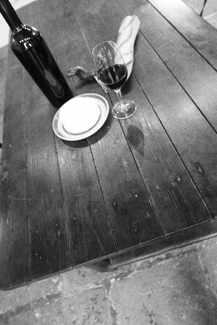 table, drink, food and drink, drinking glass, wood - material, high angle view, indoors, no people, refreshment, alcohol, close-up, day, water, food, wineglass, freshness