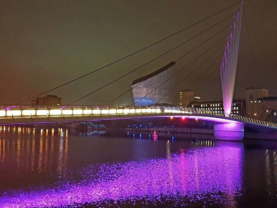Water Architecture Reflection Built Structure Illuminated Night Building Exterior Architecture Natural And Manmade Beauty Together Lights Media City Salford Mediacityuk No People Untouched