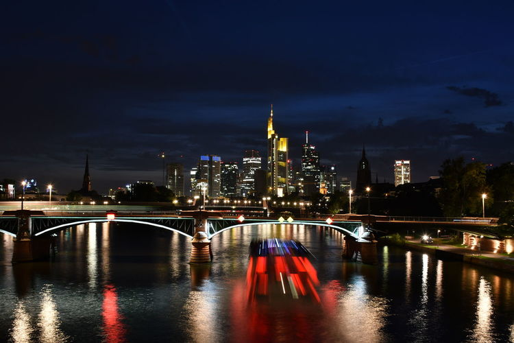 An Eye For Travel Financial District  Frankfurt Frankfurt Am Main River View Architecture Building Exterior Built Structure Bulb City Cityscape darkness and light Frakfurtcity Illuminated Langzeitbelichtung Modern Nature Night No People Outdoors Reflection Sky Skyscraper Travel Destinations Water