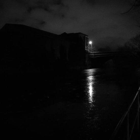 Street light Monochromatic Riverside River At Night Street Lamp Reflection Night No People Water Outdoors