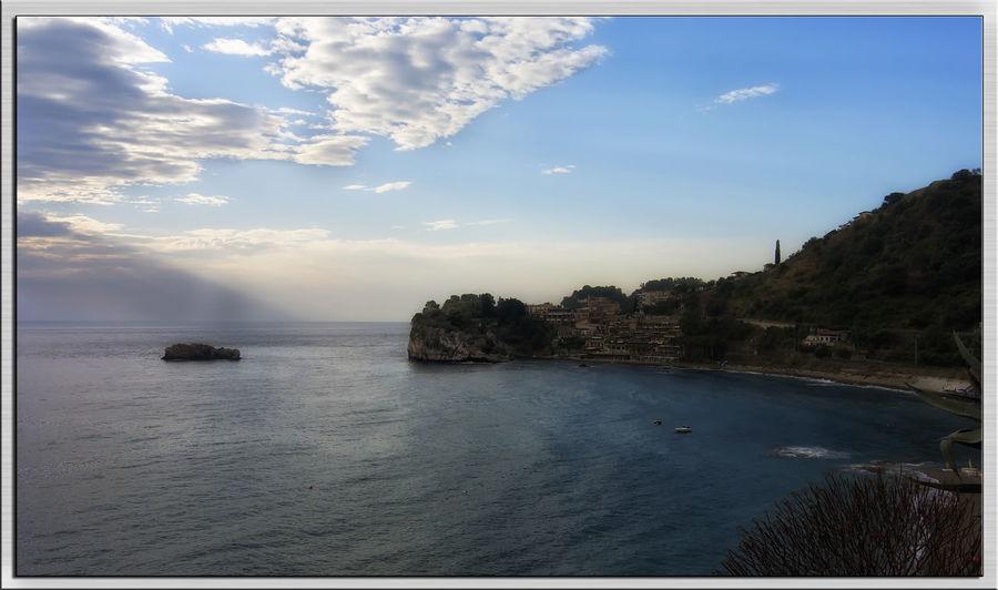 Bay Taormina Sea Water Horizon Over Water Scenics Tranquil Scene Tranquility Beauty In Nature Sky Beach Blue Idyllic Waterfront Nature Calm Non-urban Scene Coastline Majestic Cloud - Sky Outdoors Remote Sicilia Trinacria Panoramic Photography