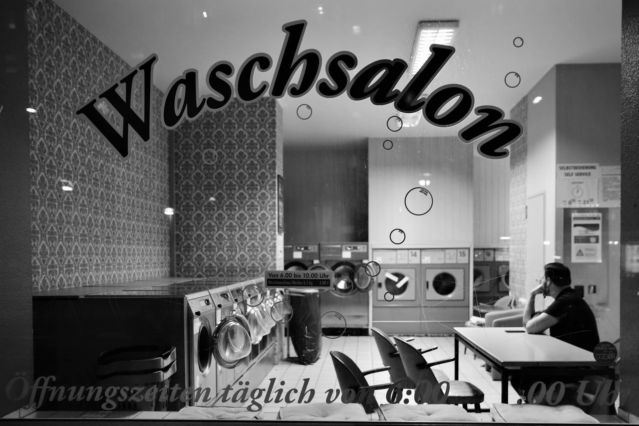 Berlin City Citylife Indoors  Laden Mitte Night One Man Only One Person People S/w Torstraße Trzoska Waschsalon Washing