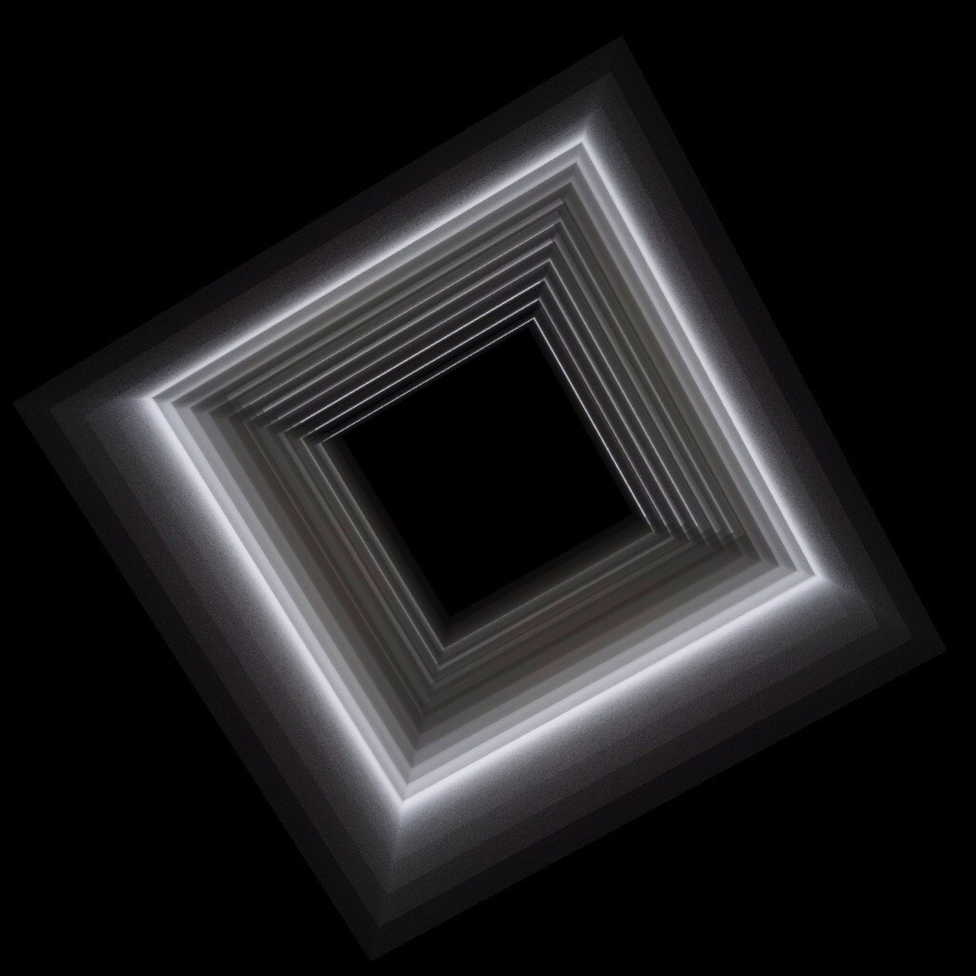 illuminated, indoors, low angle view, lighting equipment, glowing, architecture, built structure, pattern, night, geometric shape, black background, no people, light - natural phenomenon, dark, studio shot, design, close-up, copy space, abstract, shape