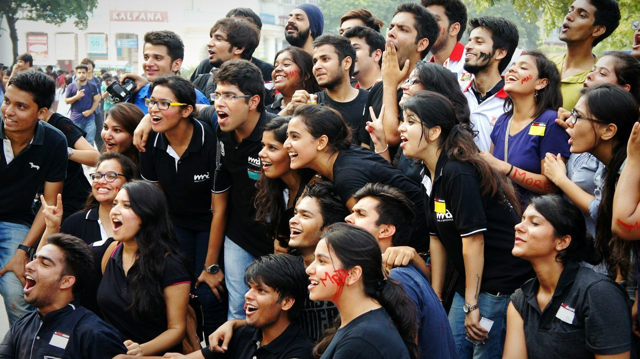 What I Value Great Crowd Group Photo Smiles Laughs Fun Rahgiri(streetfest) Delhi India Special Moments