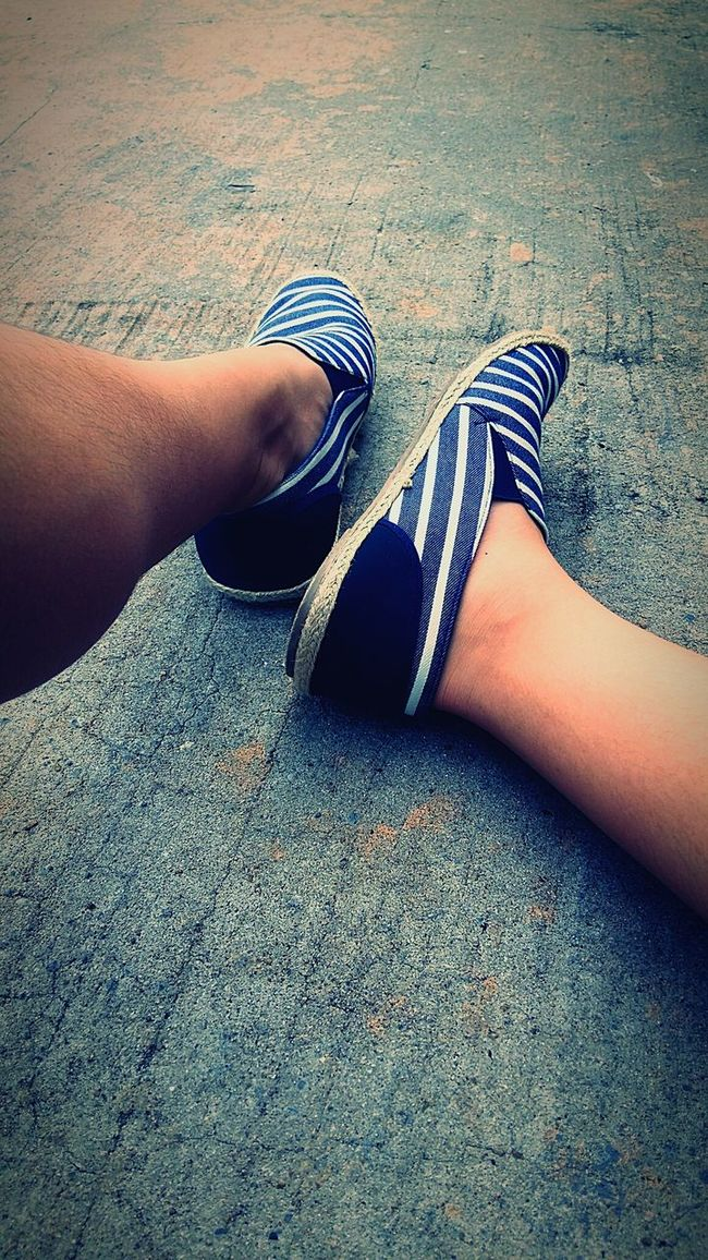 Relaxing Relax Ground Concrete Loafers Stripes Pattern Pose Legs