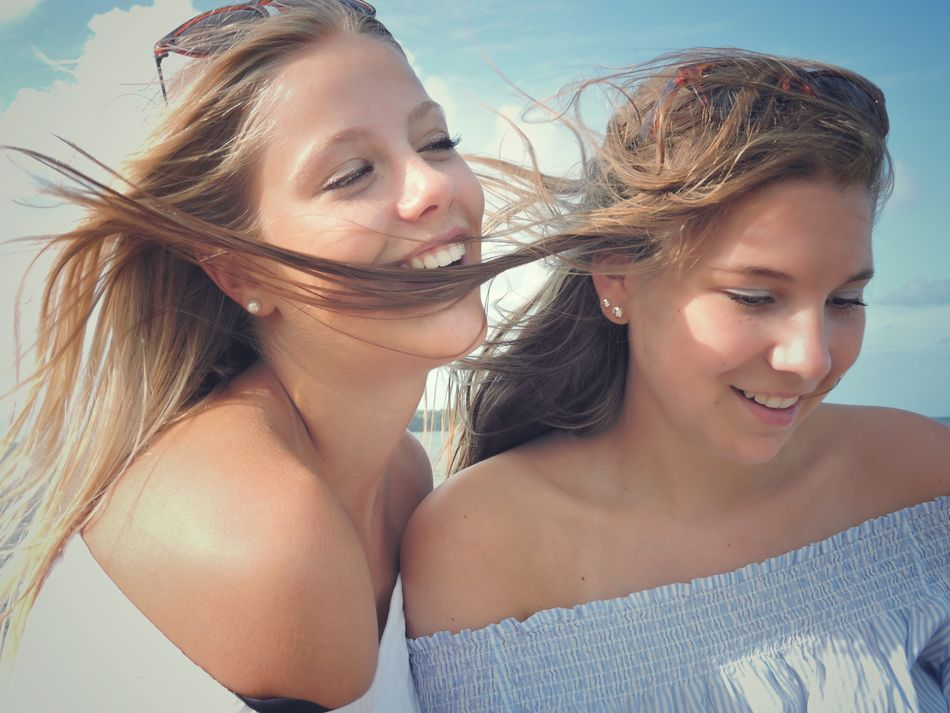 Two Summer Young Women Two People Blond Hair Young Adult Sunlight Vacations Togetherness Beauty Fun Smiling Enjoyment Friendship Happiness Beautiful Woman Leisure Activity EyeEm Best Shots Wind Blowing Hair Lifestyle Freedom Natural Casual