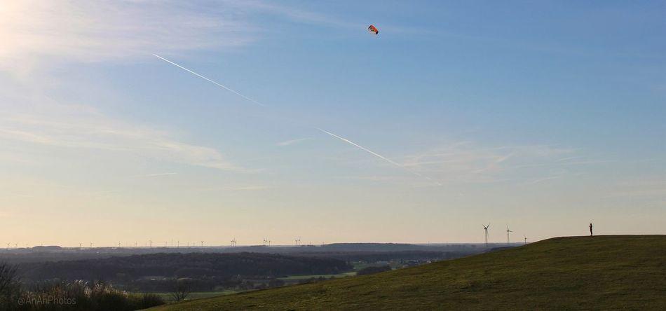 Vist on Halde Norddeutschland- Himmelstreppe Landscape Sky Flying Outdoors Flying A Kite Grass Spring2017 Wind Turbines