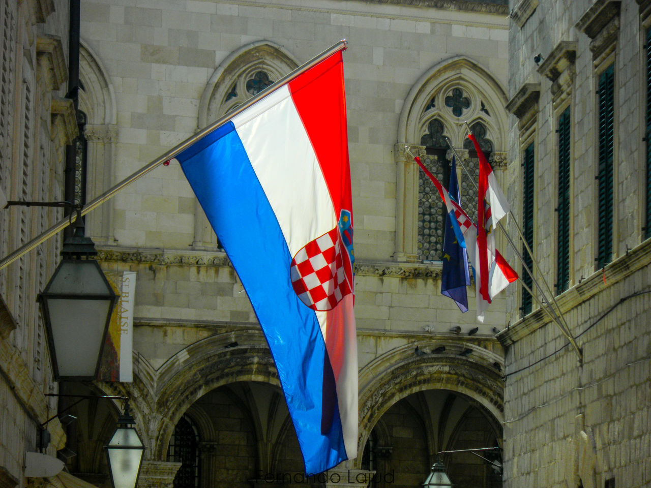 Patriotism Flag Pride National Icon Built Structure Building Exterior Low Angle View Day Travel Destinations Outdoors Color Splash Croatia Travel Sunlight Historical Monuments Color Photography Historical Place History Museum  Duvrovnik Nationalgeographic Croatian Landscape Croatia Exploring Vacations Summer