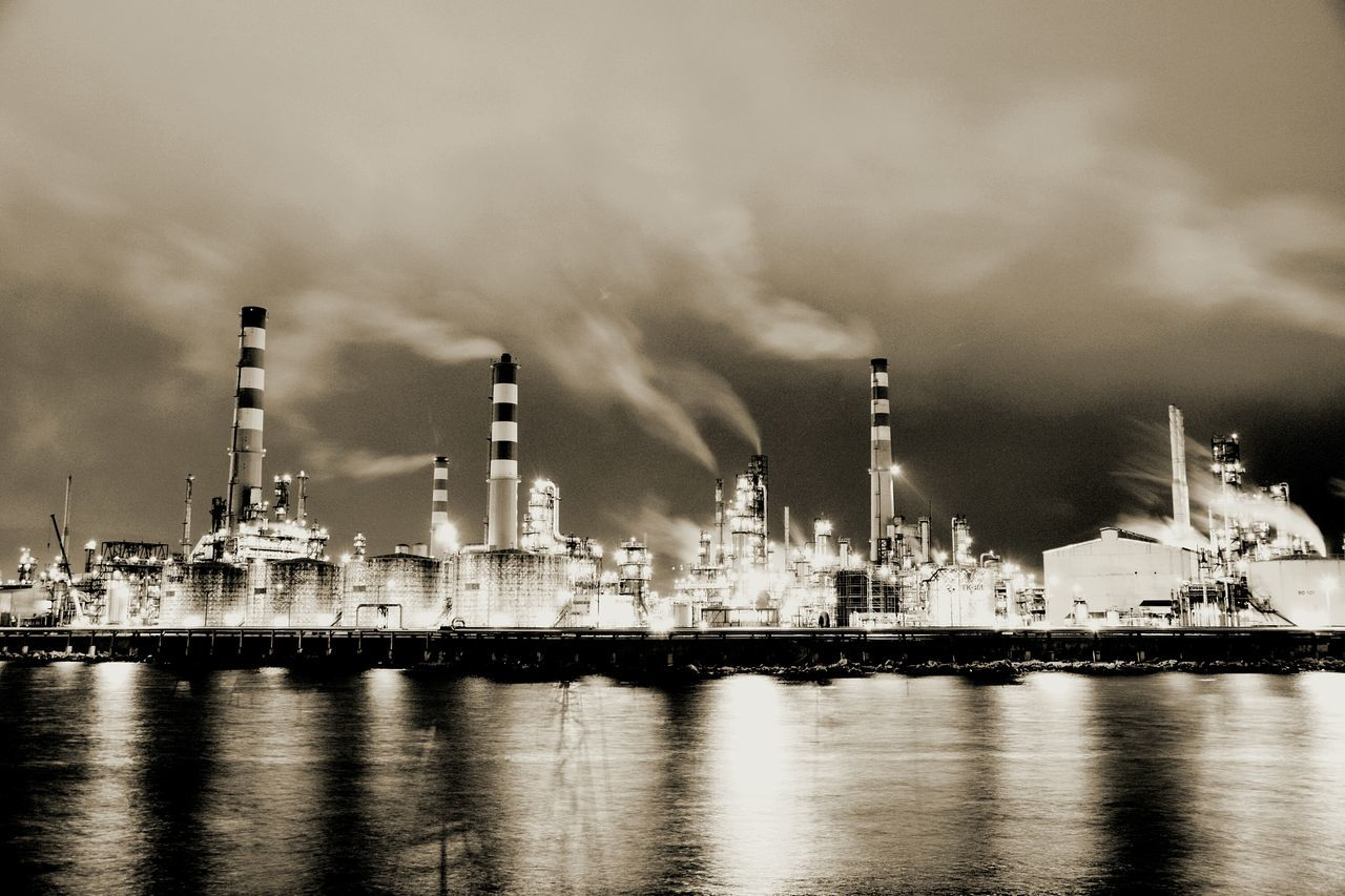 Fuel And Power Generation Oil Industry Industry Business Finance And Industry Factory Refinery Technology Oil Social Issues Water No People Smoke Stack Sky Offshore Platform Illuminated Oil Refinery Gas Outdoors