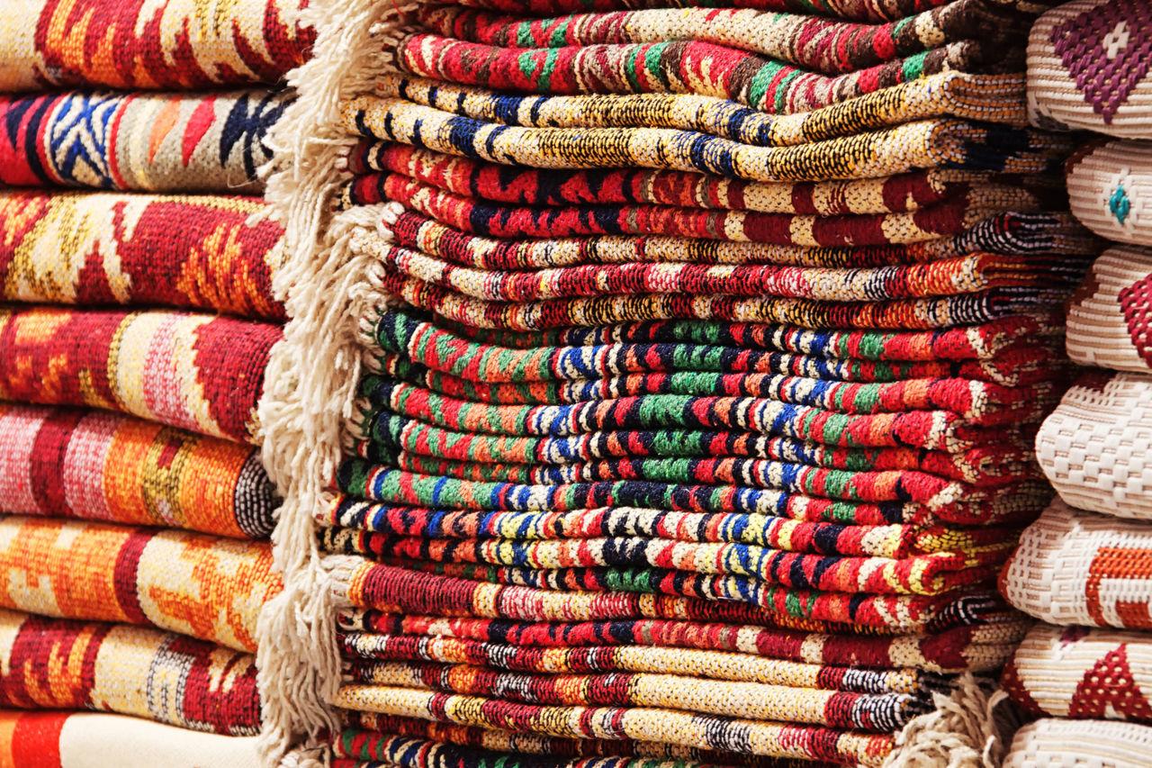 Full Frame Shot Of Colorful Carpets At Market