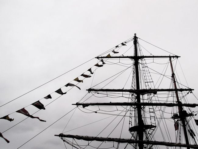 Pirate Ship // Low Angle View Connection Metal Cable No People Business Finance And Industry Flock Of Birds Silhouette Sky Large Group Of Animals Technology Day Bird Horizontal Outdoors Black And White Sail Boat Pirateship  Pirate Ship Sky And Clouds Contrast Outdoor Photography Albert Dock TBT