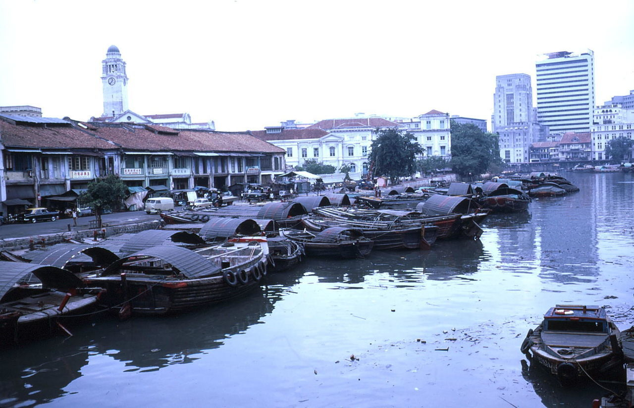 Sampans on River Estuary, Old Chinatown (1972) Architecture Boat Building Exterior Canal Chinatown City Life Composition Culture Day Estuary Grey Sky Mode Of Transport Moored Nautical Vessel No People Outdoors Reflection River Sampans Transportation Urban Water Waterfront