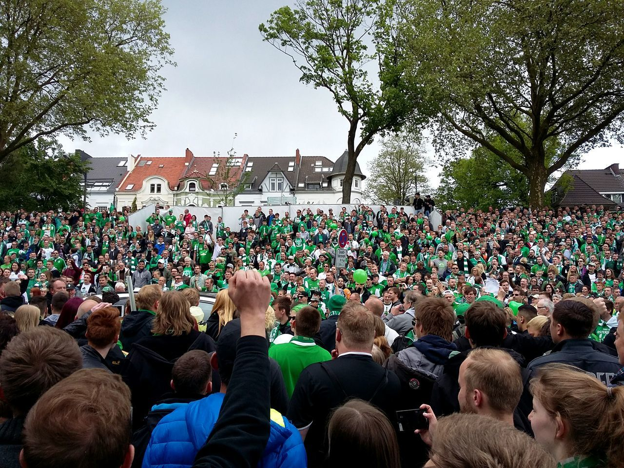 Werder Bremen fans waiting for the team.