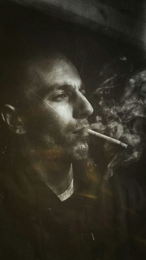 Black And White Selfportrait Smoking Light And Shadow