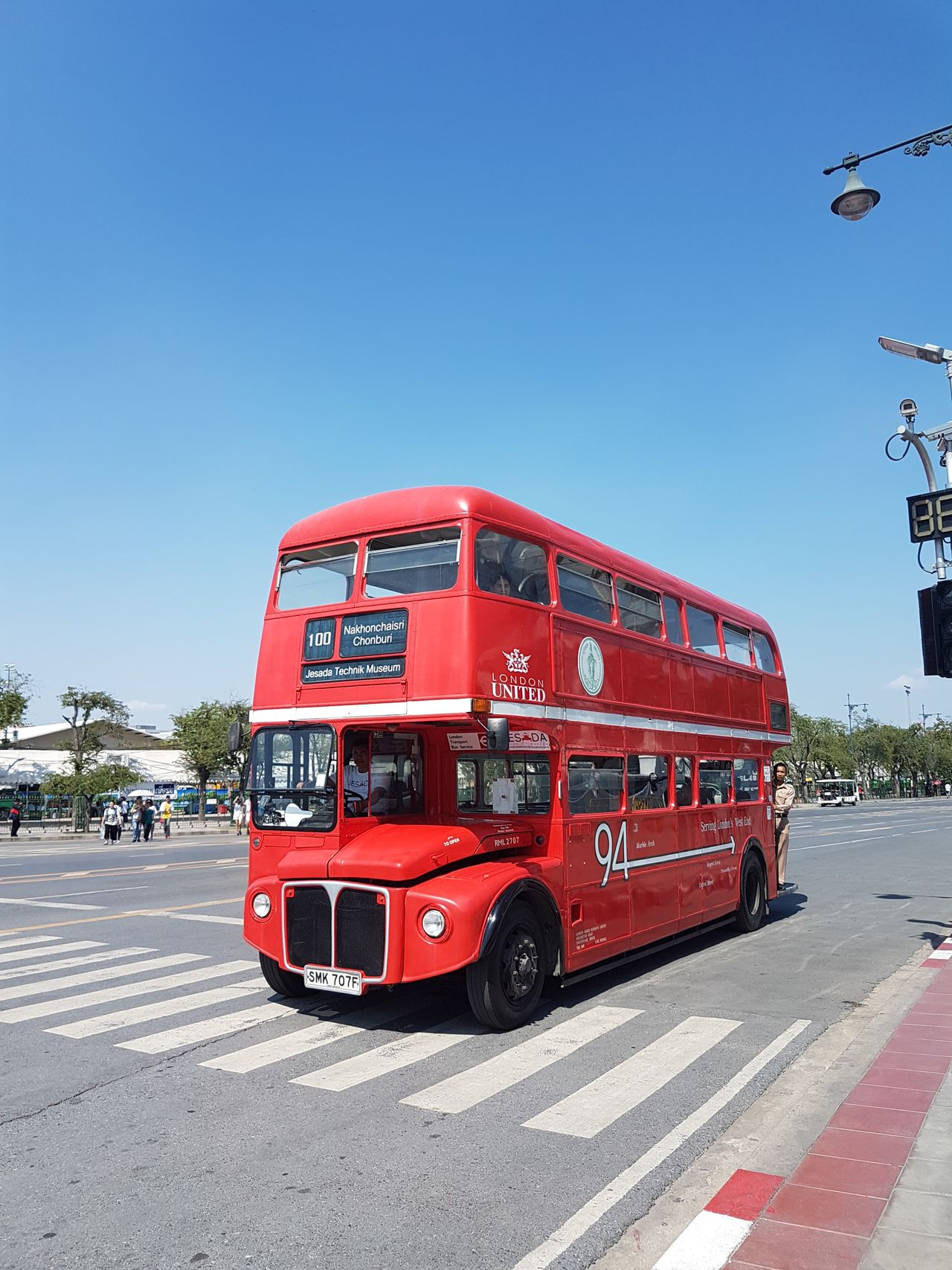 Red Blue Clear Sky Transportation Sky City Road Outdoors No People Day Sunshine Sunshine Day Transportation Bus London Bus Shuttle Bus Sanam Luang Bangkok Wat Prakeaw Bangkok