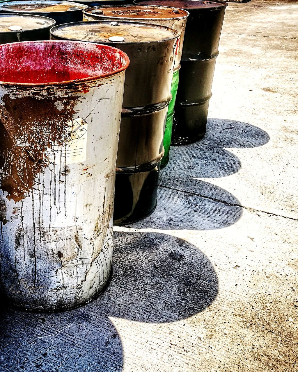 shadow, sunlight, day, outdoors, no people, barrel, drum - container, nature