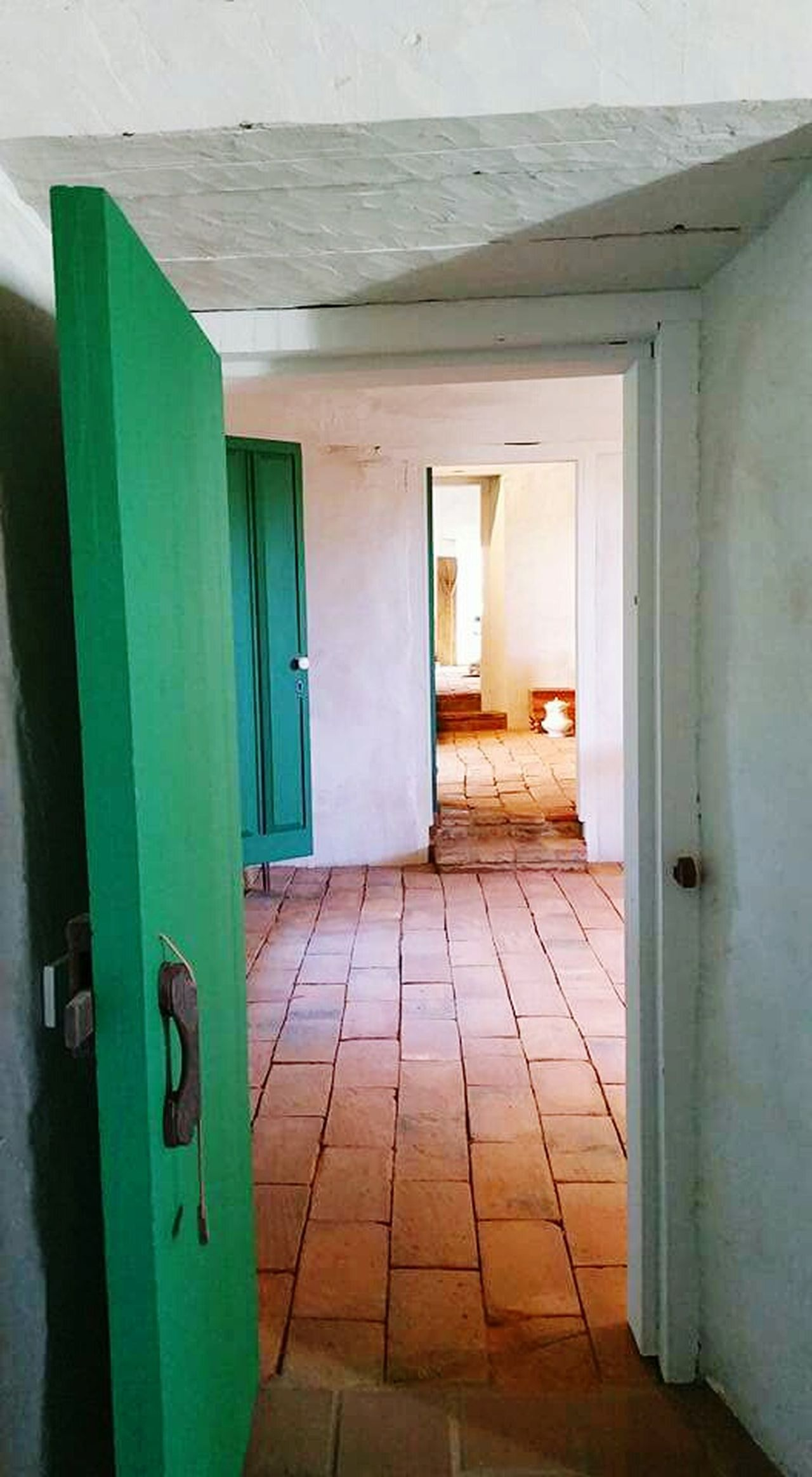 Open Doors  Alignment Tile Floor Architecture Architecture_collection California Old Town San Diego Design House Green Green Doors Adobe Walls