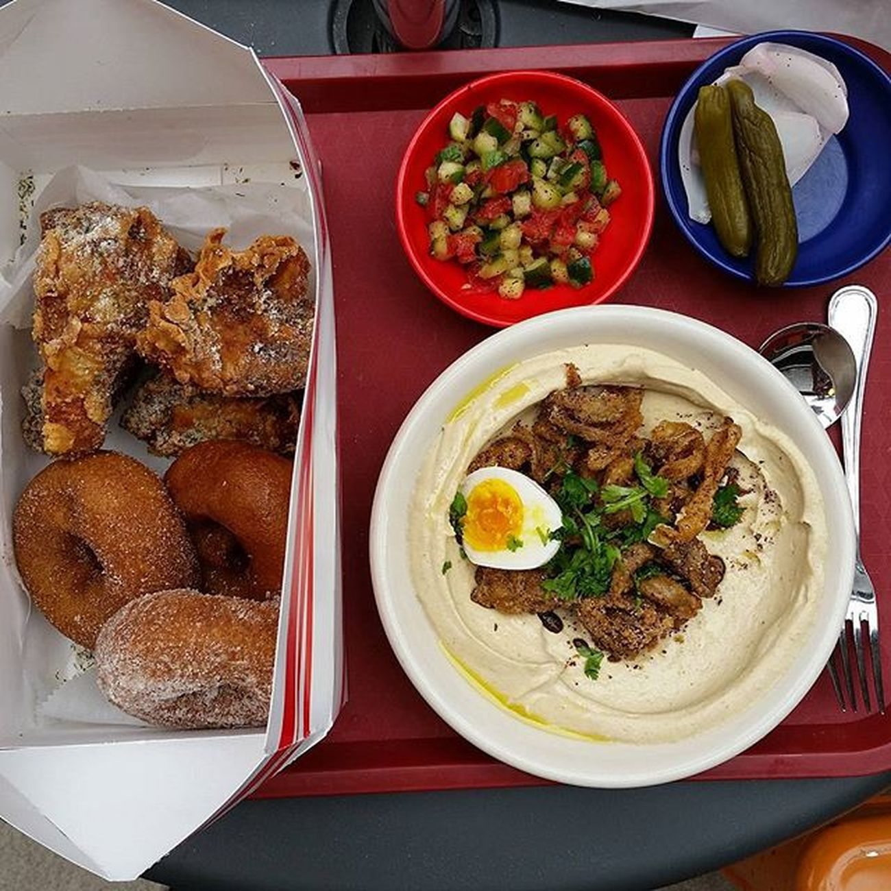 Chicken Skin Hummus with Fried Chicken and Donuts @mikesolomonov @federaldonuts @dizengoff_philly Chickenandhummus Friedchickenonfriedchicken Bestcombo Bestoffday Eeeeeats Foodgasm Phillyeats