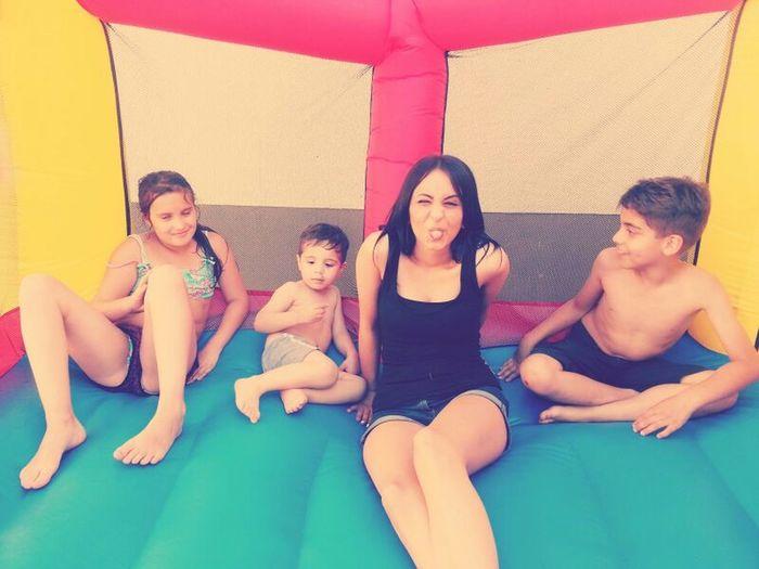 Kids Having Fun Birthday Jumping On The Trampoline  ♥