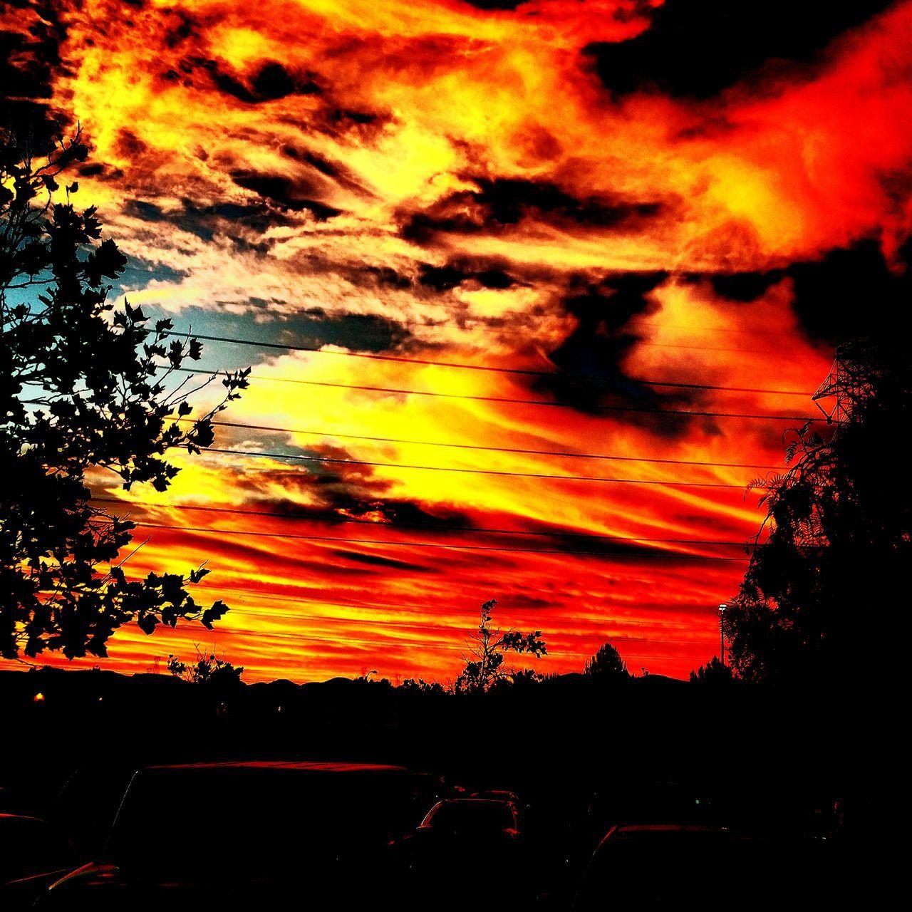 sunset, silhouette, sky, car, tree, orange color, dramatic sky, nature, cloud - sky, no people, beauty in nature, scenics, outdoors