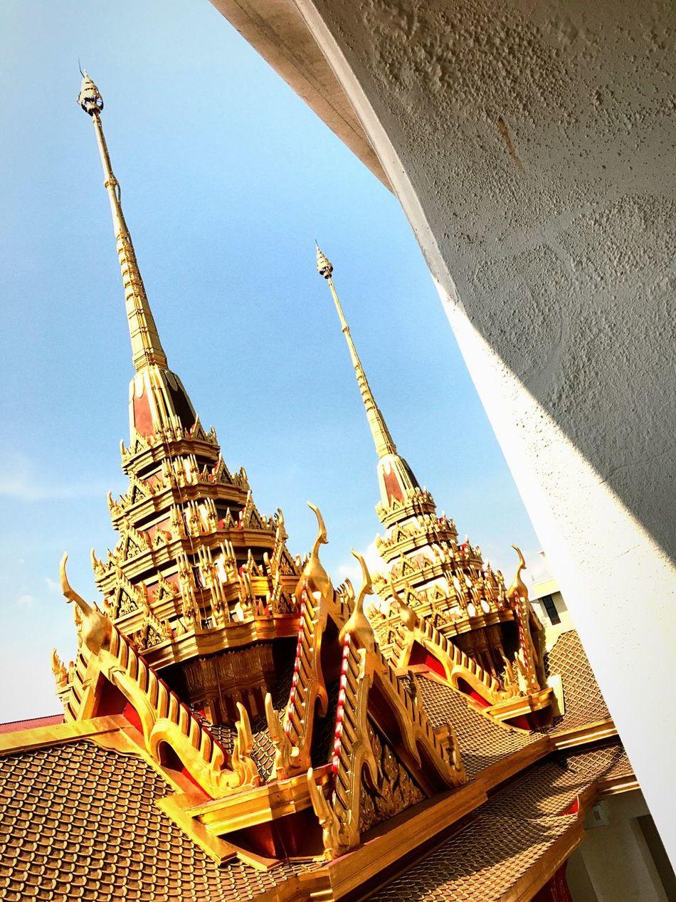 Loha Prasat Golden Traditional Thai Building Temple - Building Tradition Old Building  In And Out Contrast BKK Thailand The City Light