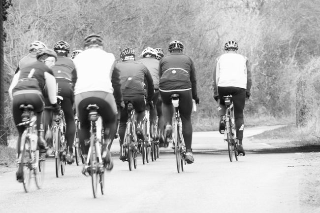 Out for a ride Black And White Photography Mono Cycling Club Cycling Around Cycling Helmets Lycra Group Of People Excercise Sport Road Cycling