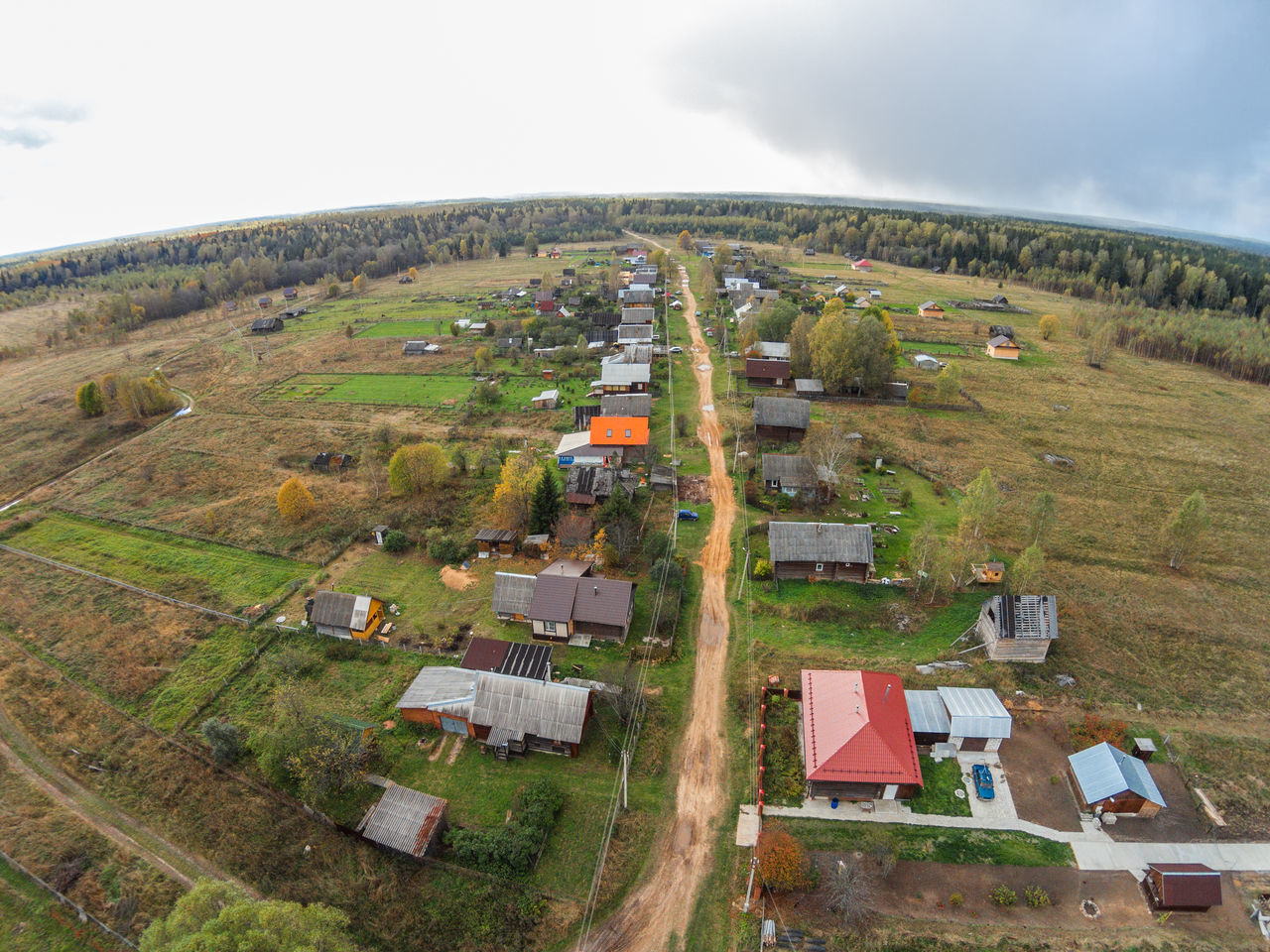 Village in the backwoods of Russia. The view from the top. A Bird's Eye View Aerial Aerial View Building Exterior City Day Nature No People Outdoors Road Rural Rural Scene Russia Scenics Sky Top Perspective Vintage