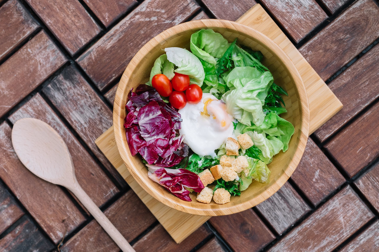 Close-up Cutting Board Day Egg Flatlay Food Food And Drink Freshness Healthy Eating High Angle View Indoors  Lettuce No People Ready-to-eat Salad Salad Bowl Table Variation Vegetable Wood - Material