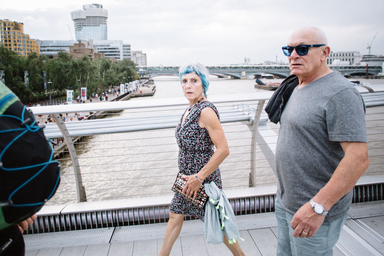 Adults Only Bridge - Man Made Structure Casual Clothing City Colored Hair Day Granma Lifestyles LONDON❤ Looking At Camera Lover Millenium Bridge People Portrait Sky The Portraitist - 2017 EyeEm Awards The Street Photographer - 2017 EyeEm Awards Togetherness Two People Blue Hair Blue Hair Don't Care
