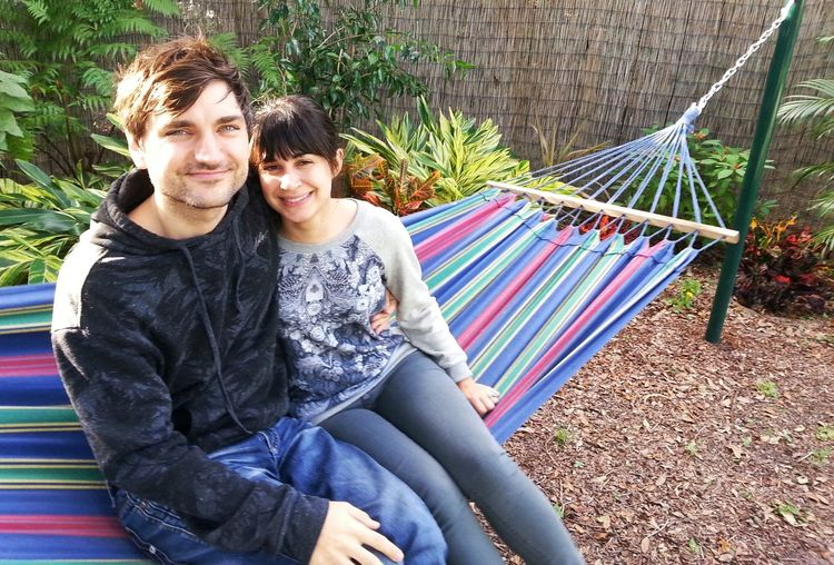 Hanging Out Christmas 2015 Family Time my daughter Suzanne & son in law Jonny Hammock Time they live in Calif. - visits are extra special In Our Backyard In Our Hammock Corner Family