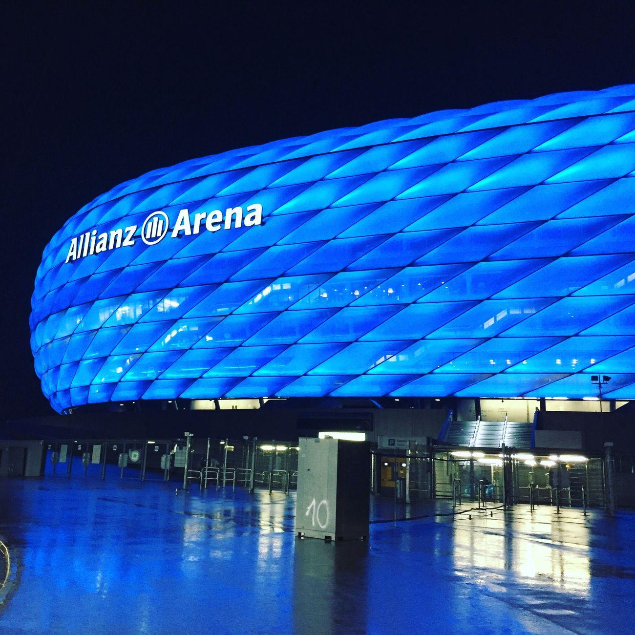 Allianz Arena in blue. Blue Arena Allianzarena 1860 FCB Munich München Bayern Soccer Fussball Bundesliga Architecture City Built Structure Building 089 Minga Blau