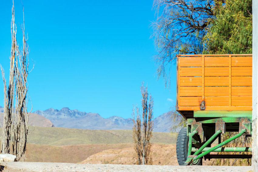 A green and orange cart on a farm near Potosi, Bolivia Agriculture Blue Sky Bolivia Cart Country Countryside Crop  Farm Field Green Grow Harvest Land Landscape Leaves Nature Orange Potosi Potosi Bolivia Rural Scenic Tree Valley View Wagon