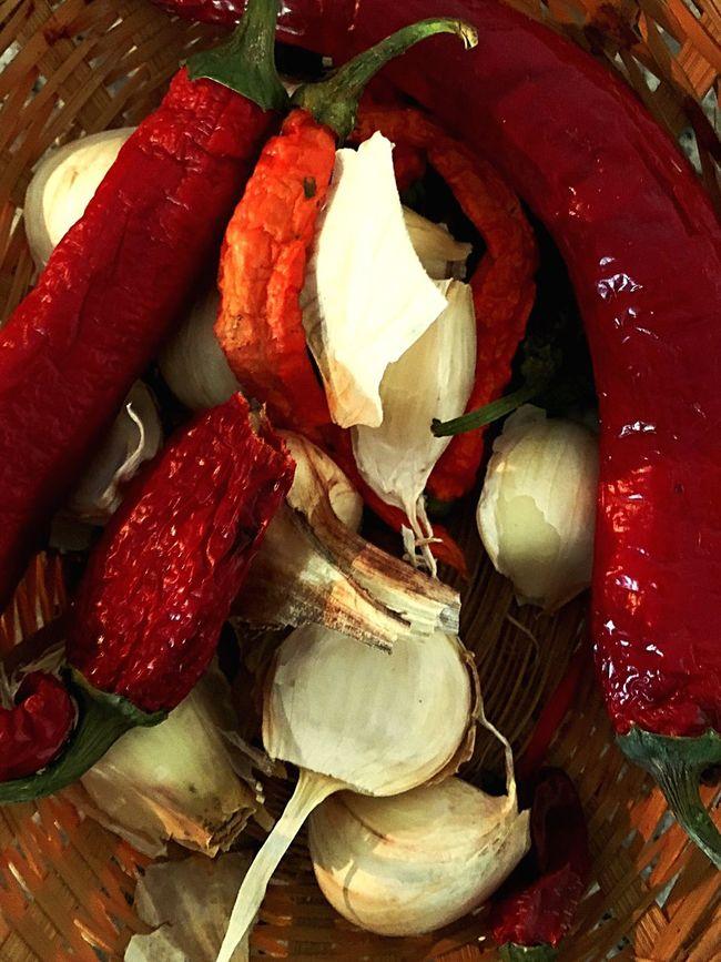Food Still Life Garlic Peppers Close-up