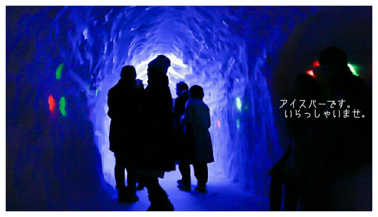 Snowfestival Ice Bar の入口 Winter Snow Light And Shadow Silhouette Blue Led Lamp 月山志津温泉雪旅籠の灯り YAMAGATA
