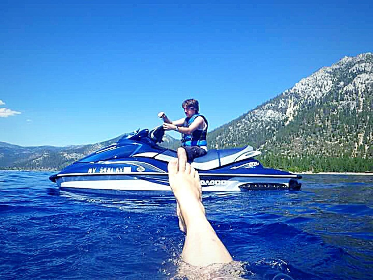 The Essence Of Summer The Following Mother And Son Swimming In The Lake Water Having Fun With Kids Vacation Time ♡ Outdoor Photography Clear Blue Water Taking Photos ❤ Water Photography Waterproof Camera Lake Tahoe My Son ❤ Water Sports My Happy Place  Jet Skiing Sierra Nevada Mountains Mountains And Sky Relaxing Moments Swimming :) Feet Thats Me ♥ Selfie ♥ Hanging Out