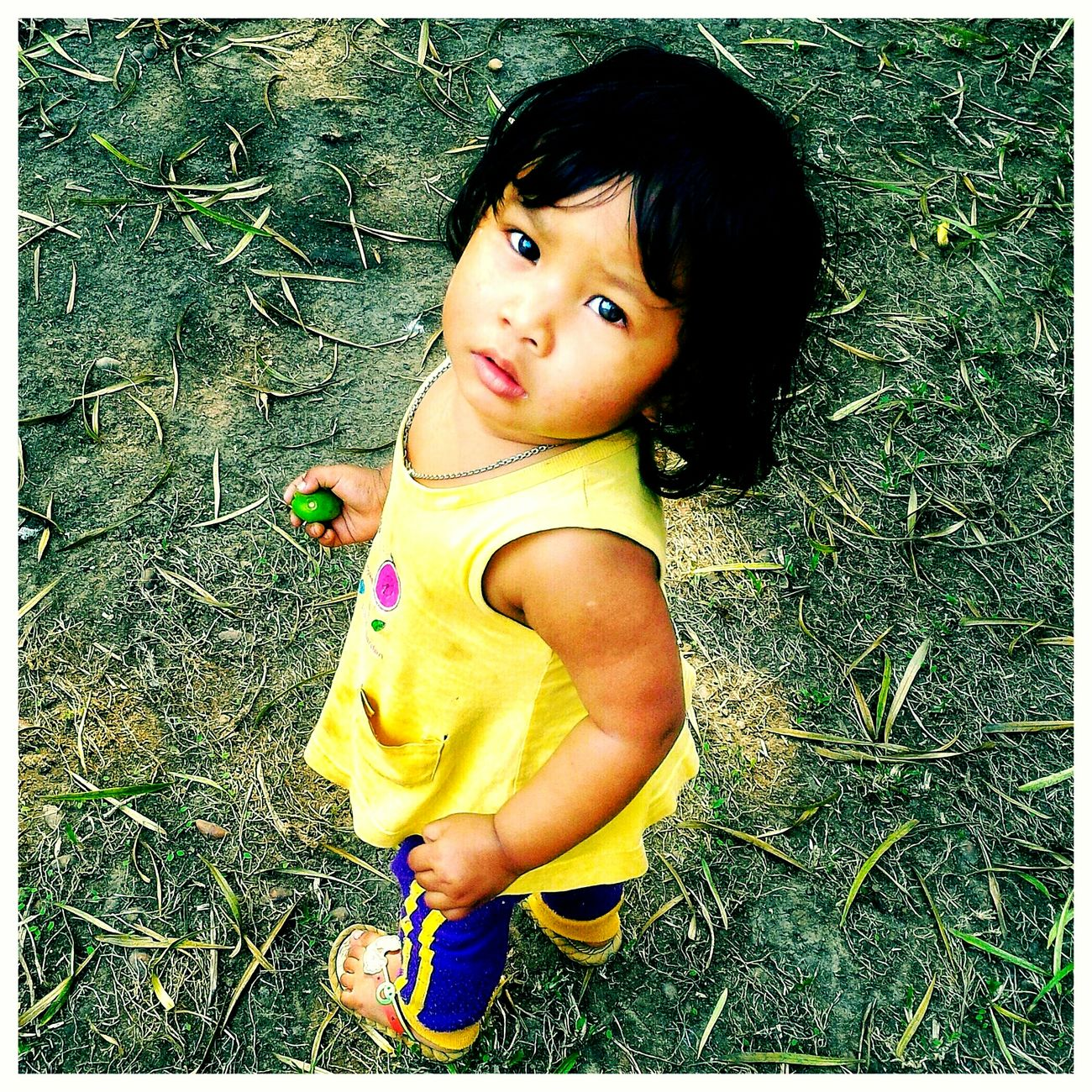 I can't stop loving her... Childhood Real People Portrait Cute Day People Outdoors One Person Looking At Camera Innocence Girls High Angle View Close-up Yellow Mobile Phone Photography Loveher
