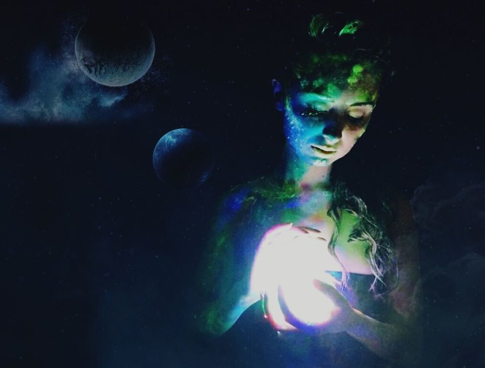 One Person One Woman Only Mystery Only Women Surreal People Face Paint One Young Woman Only Green Color Portrait Beautiful Woman Young Women Black Background Beauty Multi Colored Futuristic Space Spacewoman