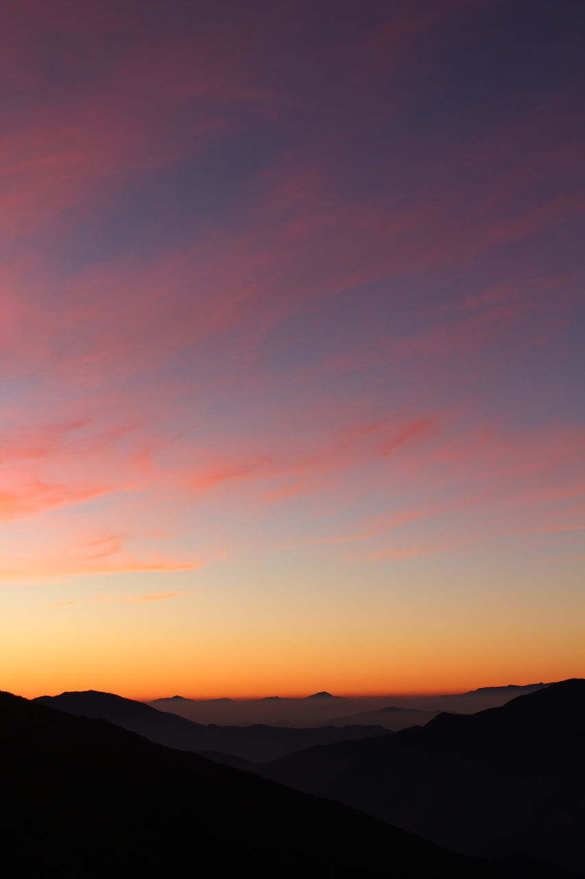 sunset, silhouette, tranquil scene, nature, beauty in nature, orange color, scenics, tranquility, sky, no people, landscape, outdoors, mountain