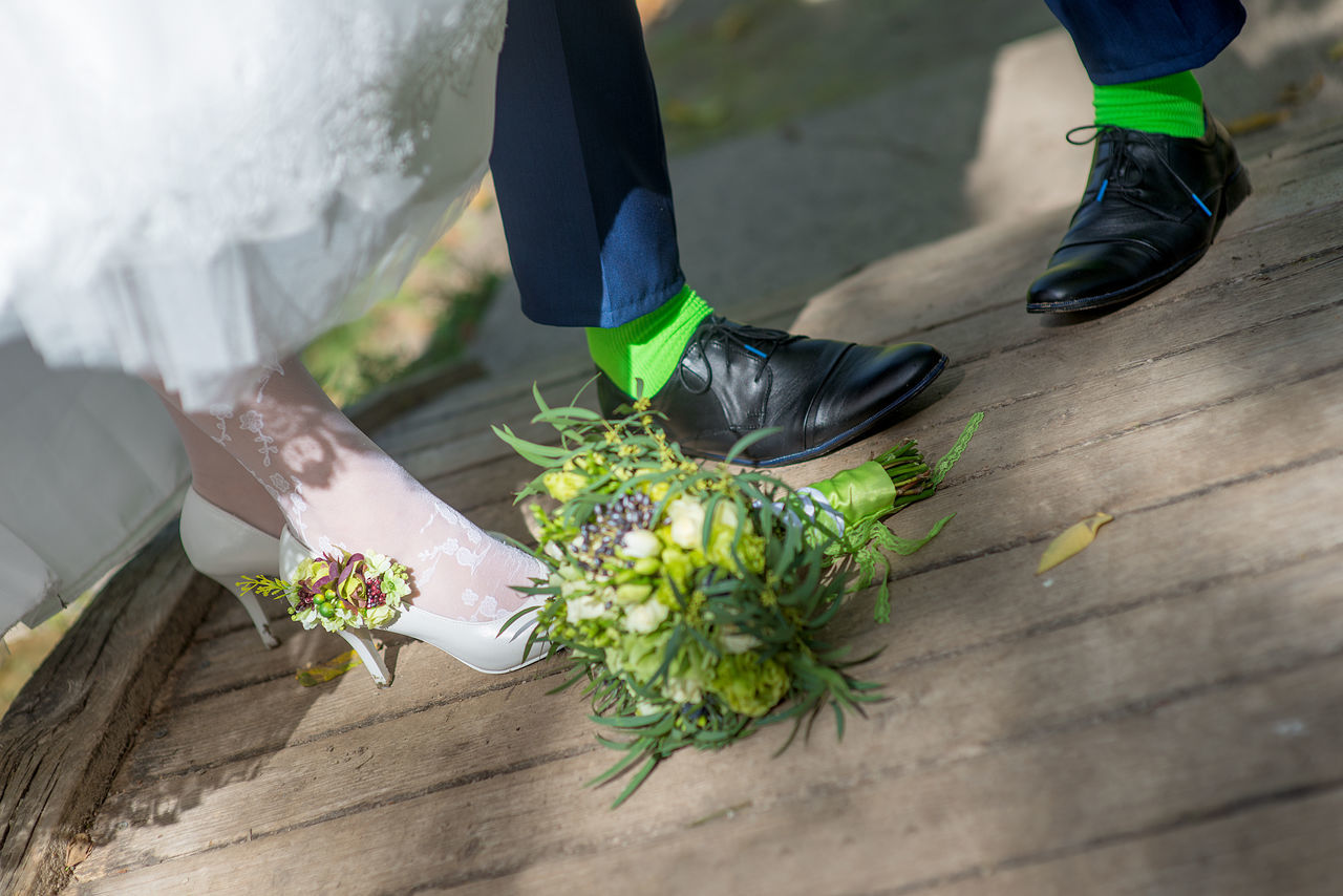 Backgrounds Bouquet Bridal Bouquet Bride And Groom Close-up Dress EyeEmNewHere Green Green Socks Green Stockings Human Body Part Human Leg Shoes Sock Socks Stockings Wedding Wedding Details Wedding Photography White Lieblingsteil Miles Away