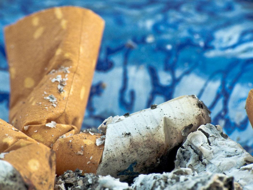 Ash Ashtray  Blue Cigarette  Cigarette Macro Close-up Filter No People No Smoke Off Put Out Smoker Stop Smoke Stop Smoking