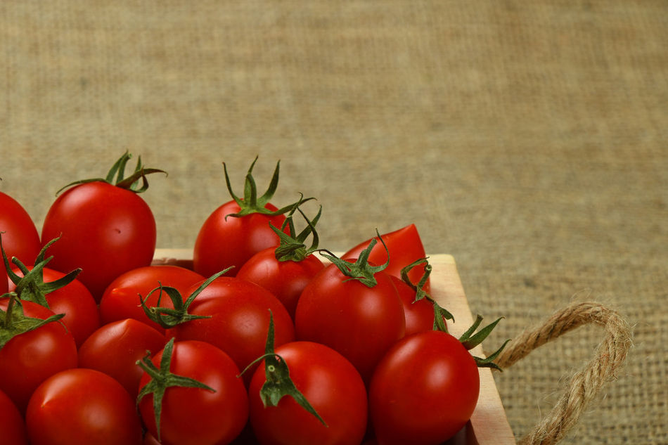 Fresh harvest of ripe red cherry tomatoes in wooden crate box on canvas background Agriculture Basket Canvas Cherry Cherry Tomatoes Close Up Food Food And Drink Fresh Freshness Healthy Eating Healthy Lifestyle Heap Nature Nutrition Organic Organic Food Raw Food Red Rustic Season  Tomato Vegetable Vegetables Vegetarian Food