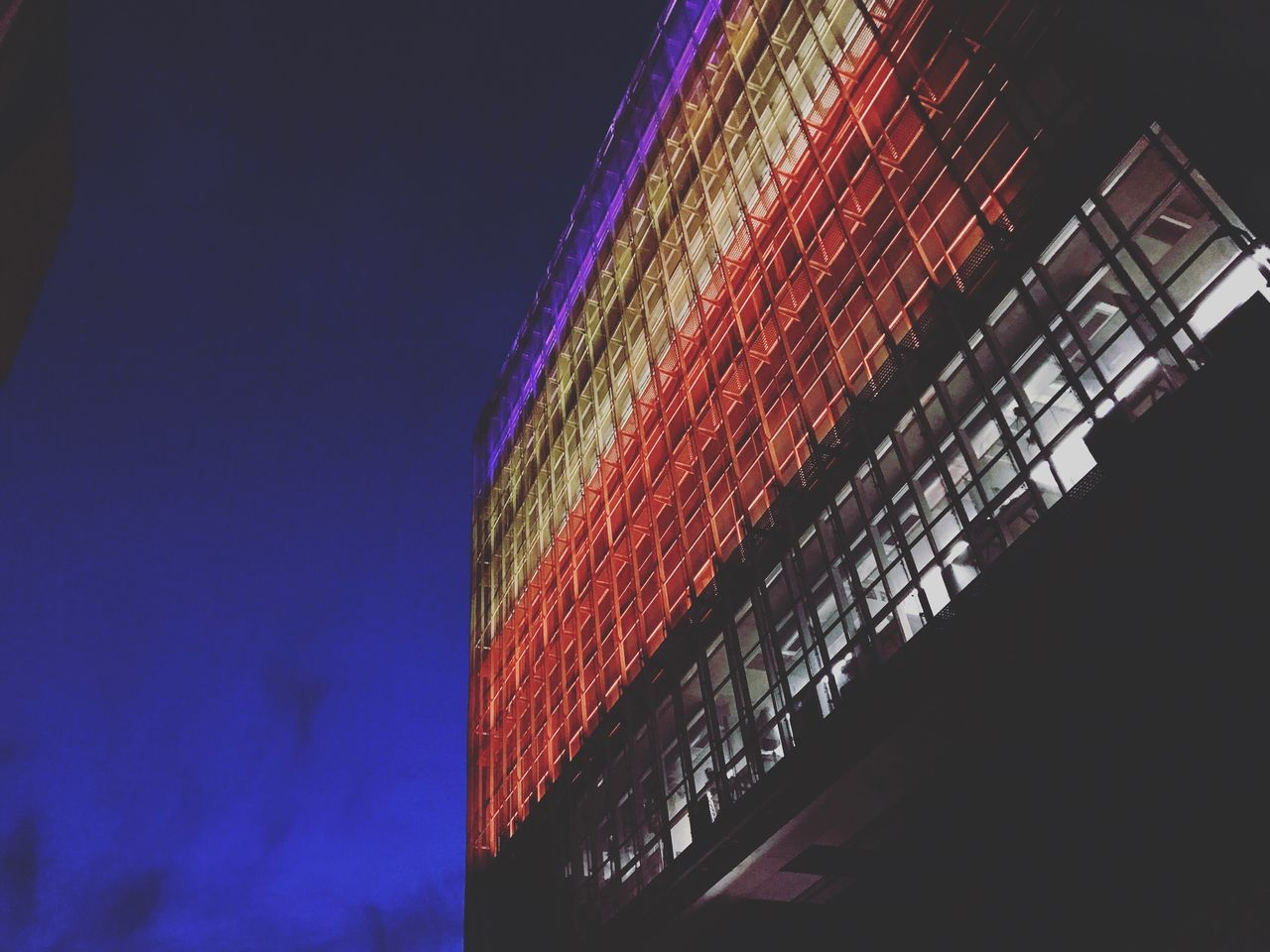 Architecture Night Building Exterior Built Structure Low Angle View Outdoors Blue Sky Red Clear Sky Love Life Colors Photography Colorful University University Campus