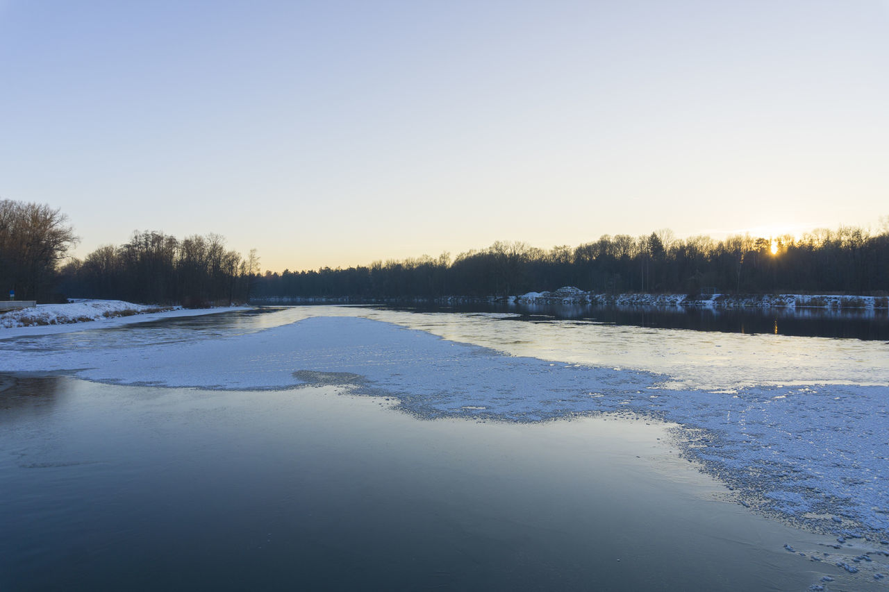 Winter evening at the lake Dusk Evening Frozen Iced Lake Landscape Layer Of Ice Nature Peaceful Snow Trees Twilight Water Winter