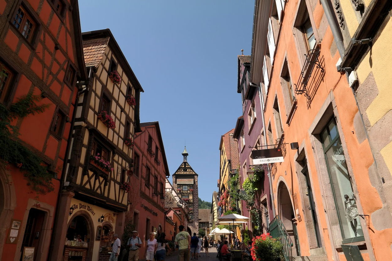 Alsace Architecture Building Exterior City City Life Cityscapes Cityview Clear Sky Colorful Elsass Eye4photography  EyeEm Best Shots EyeEm Gallery EyeEmBestPics Façade Fachwerkhaus France Low Angle View Old Houses Old Town Riquewihr Tourism Tourist Attraction