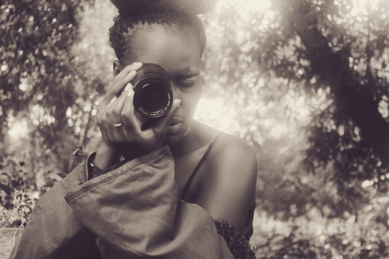 Black & White Camera Female African