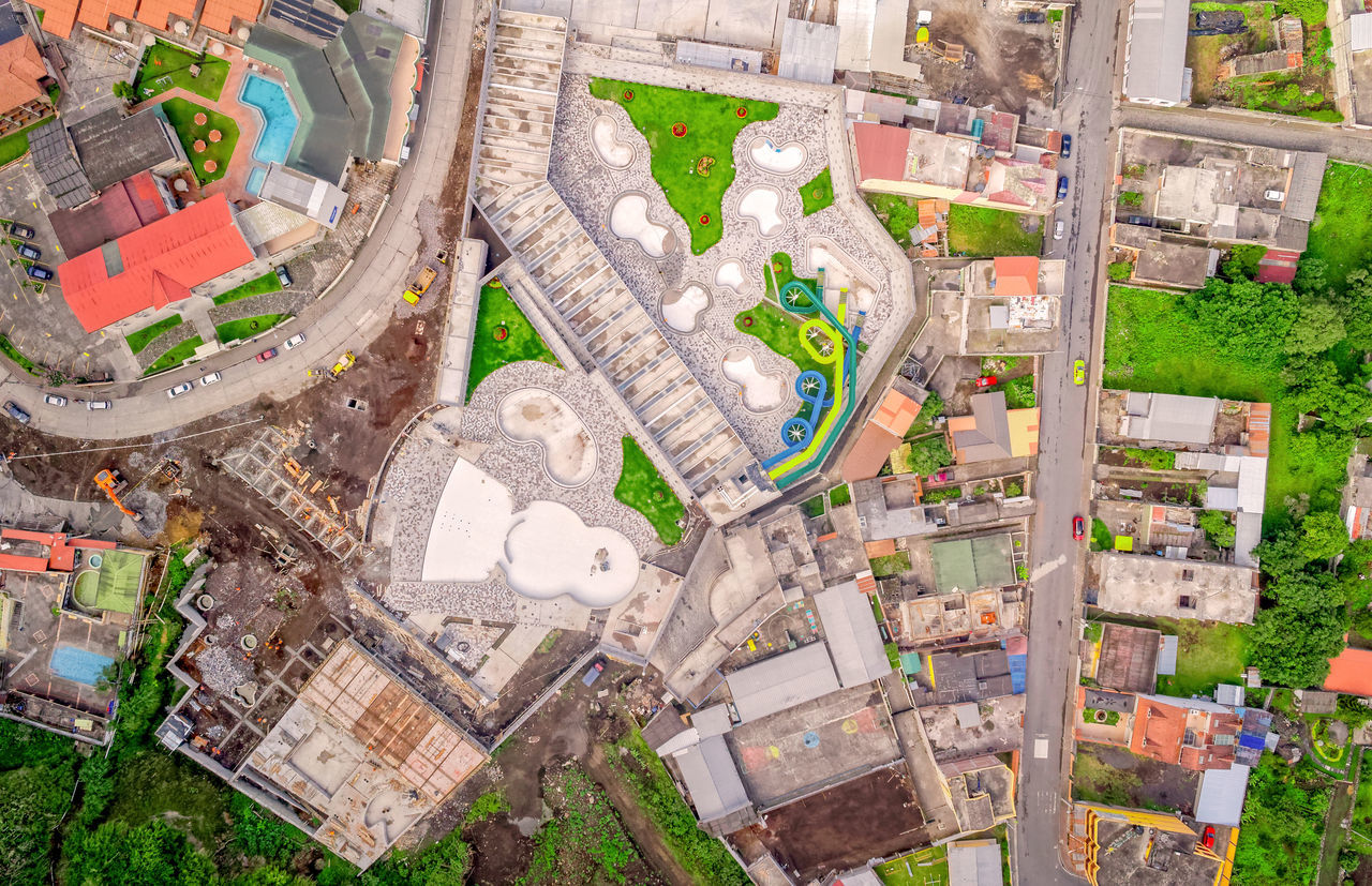 Suburb Of Banos De Agua Santa, Aerial View, Tungurahua Province, South America Aerial View Altitude Architecture Avenue Business Finance And Industry City City City Life Cityscape Drone  Dronephotography Housing Development Infrastructure No People Outdoors Road South America Square Street Thermal Thermal Water Travel Destinations Tungurahua Urban Landscape Urban Skyline Flying High