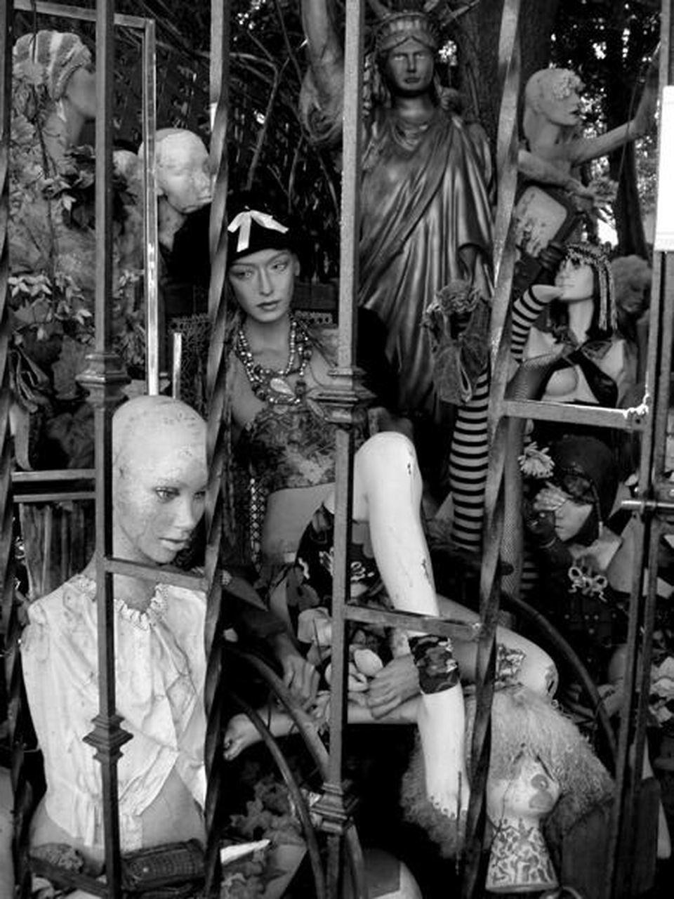 human representation, statue, retail, human bone, sculpture, day, outdoors, people