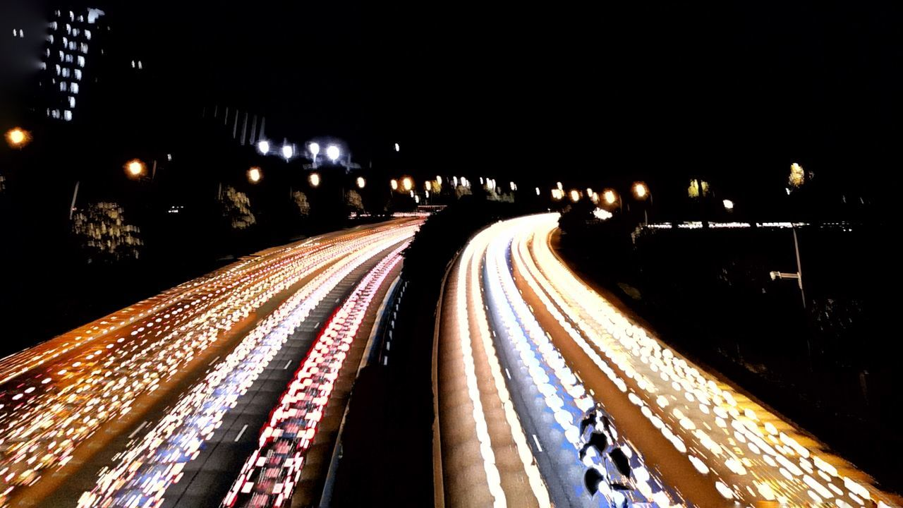 illuminated, night, speed, light trail, long exposure, motion, transportation, no people, road, outdoors, high street, city