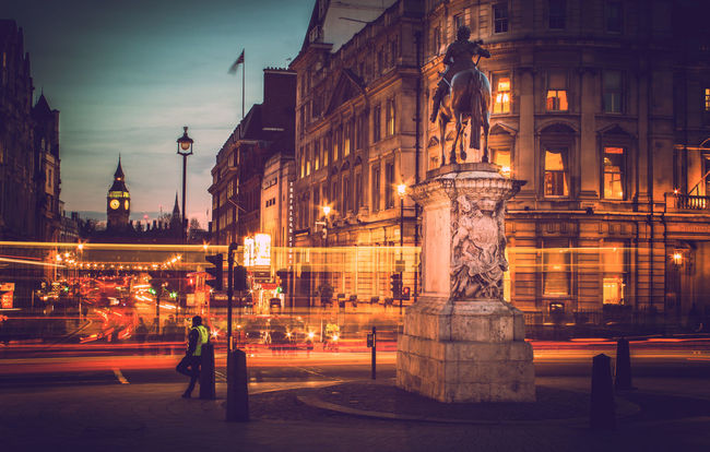 Whitehall to Westminster - the lights of a city Architecture Big Ben Building Exterior Built Structure City City Life City Street Elizabeth Tower Famous Place Historic Illuminated International Landmark Light Trails London Night Sculpture Statue Street Street Light Westminster Whitehall