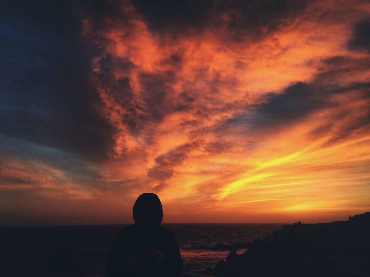 EyeEm Best Shots Winter Sunset Sea Sky Orange Color Silhouette Cloud - Sky Sunset_collection Sunsetlover Sky And Clouds